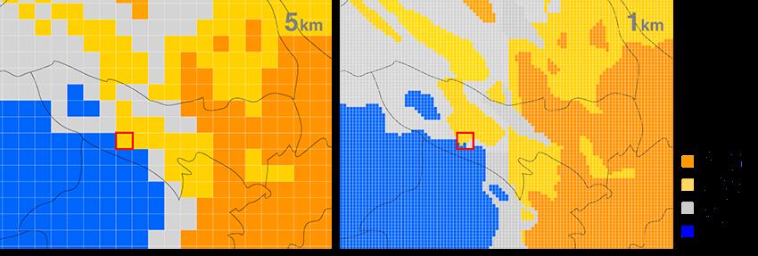 5kmメッシュと1kmメッシュでの気象データ比較。1kmメッシュでのデータは、より細かく天気を確認できる