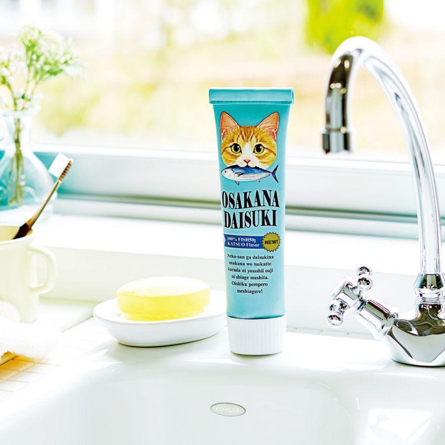 "FELISSIMO NEKOBU ""Meow! I like fish."" Hungry cat cosmetic pencil pouch <Tuna×Silver Tabby>, Salmon × pheasant white"
