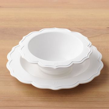 Reale Series Bowl & small white plate/chef set with sucker lid