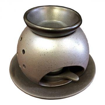 [Tea incense burner] black glaze heart