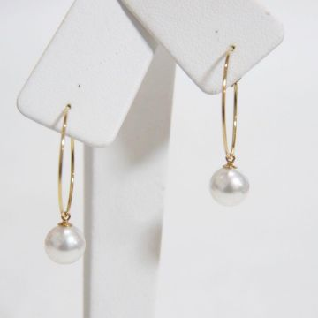 [Popular] K14GF Pearl Earring Hoop Earrings 7.5 - 8 mm Akoya Pearl Yellow Gold YG