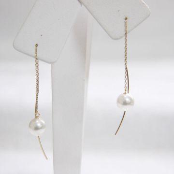 【Pearls】 K10YG Pearl Curve Earrings 7.5 - 8mm Akoya Pearl Mixed colors