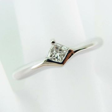 [Pre-owned] K18 white gold quad Lilian cut diamond USsize5.0 [f218-5]
