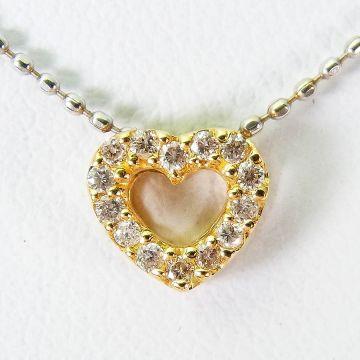 [Pre] K18 / K18WG Heart Diamond Pendant [f219-7]