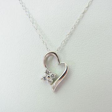 [Pre] K10 White Gold Diamond Pendant [f214-10]
