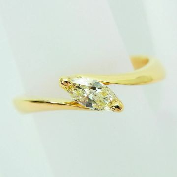 [Pre] K18 Marquise Cut Diamond Ring USsize4.5 0.22 ct [f 213-7]