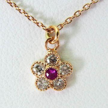 [Pre] K10 Pink Gold Ruby Diamond Pendant [f210-4]