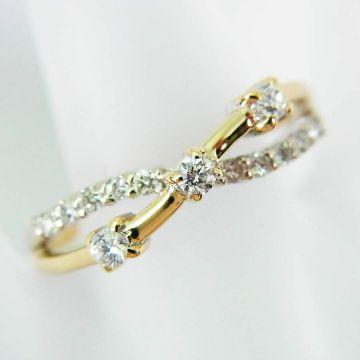 [Used] K14 Diamond Ring USsize6.0 [f 215-6]