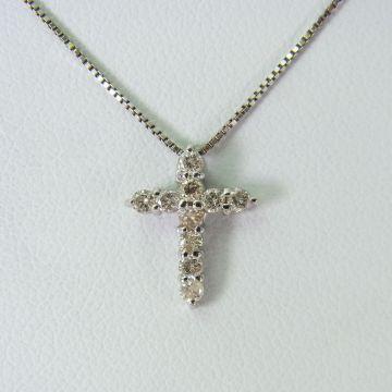 [Name] K18WG Diamond Cross Pendant [f 222-6]