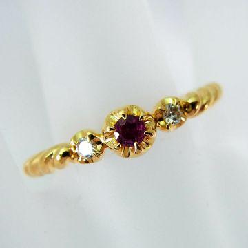 [Pre] K18 Ruby Diamond Ring USsize6.25[f210-9]