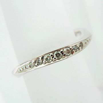 [Pre] 4 ° C K10 White Gold Diamond Ring USsize3.5 [f216-10]