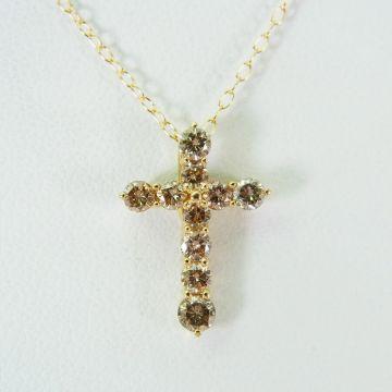 [Pre] K18 Brown Diamond Cross Pendant [f221-4]