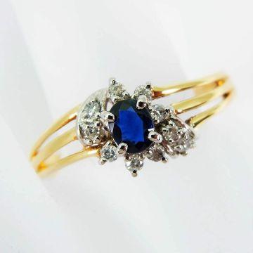[Pre] K18 / Pt 850 Sapphire Diamond Ring USsize8.0[f 215-9]