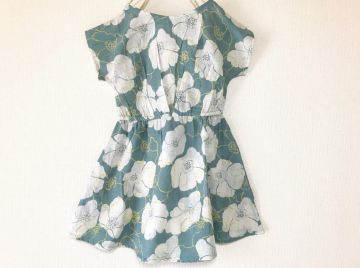 Refreshing Blue Big Flower Pattern * Kids Dress * Matching outfit  with Mom