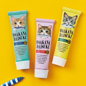 "FELISSIMO NEKOBU ""Meow! I like fish."" Hungry cat cosmetic pencil pouch <Tuna×Silver Tabby>"