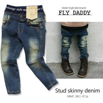 Fly Daddy Studded Denim Skinnies with Elastic Waistband