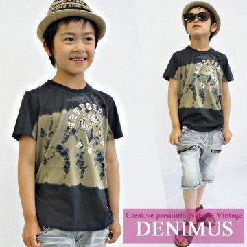 Denimus Unevenly Dyed Short-Sleeved T-Shirt with Unprocessed Hem and Fleur-de-lis Emblem