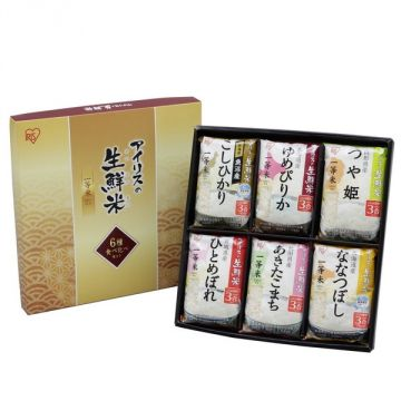 IRIS Six Kinds of Japanese Rice (3 Packages each) in a Gift Box, 2.7kg