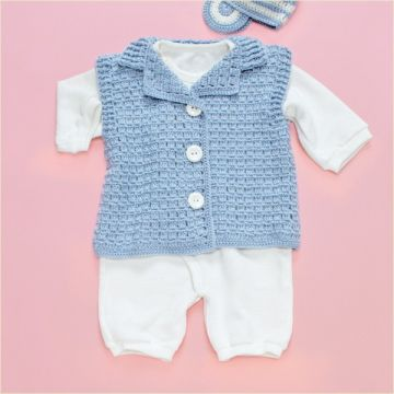 Olympus Handmade Baby Clothes Kit With Knitting Diagram, Straight-Knit Tailored Color Vest