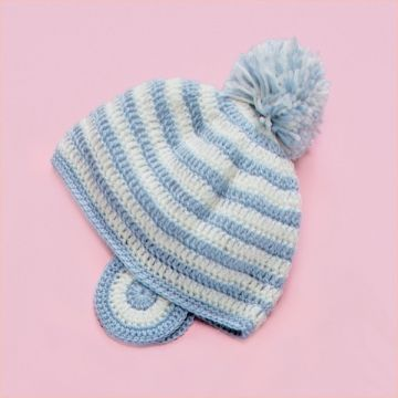 Olympus Handmade Baby Clothes Kit With Knitting Diagram, Border Cap With Ear Cover