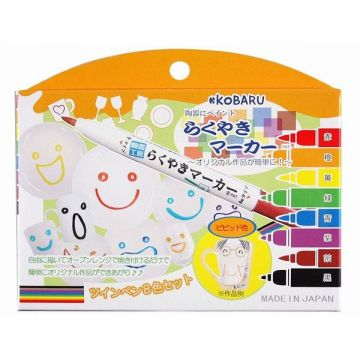 Kobaru Rakuyaki Twin Marker 8 Colors Set