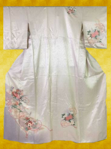 Japanese vintage Kimono Tsukesage / Pink casual dress / Pattern: leaves and flowers / Silk / Pre- Owned / Condition : good / For women