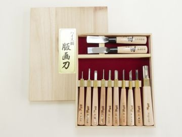 Chisel Knife 12pcs Set w/a Paulownia Wood Box