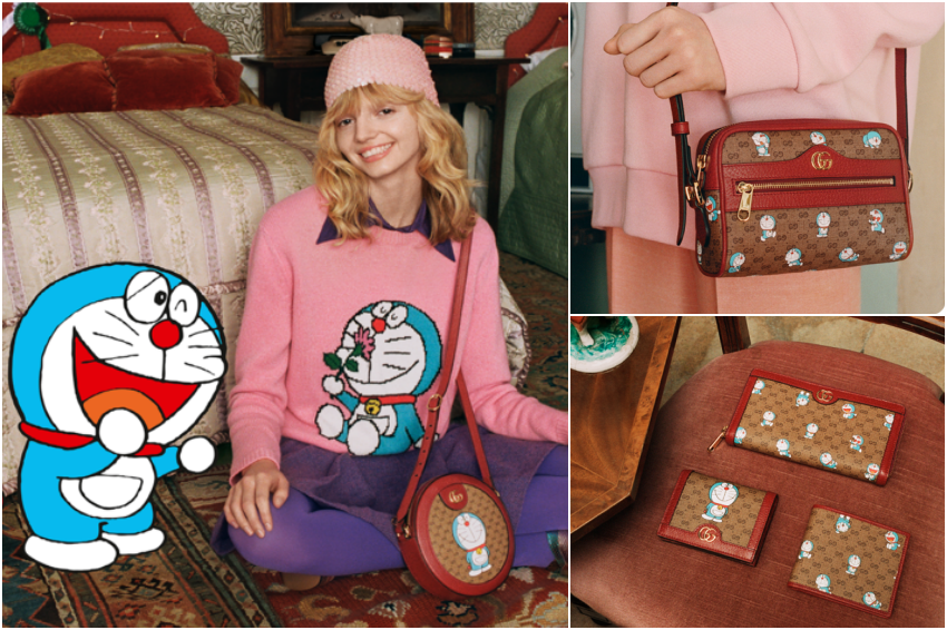 哆啦A夢擠身時尚咖行列!聯名GUCCI推出可愛俏皮服飾,這派頭果然是國民偶像才有~
