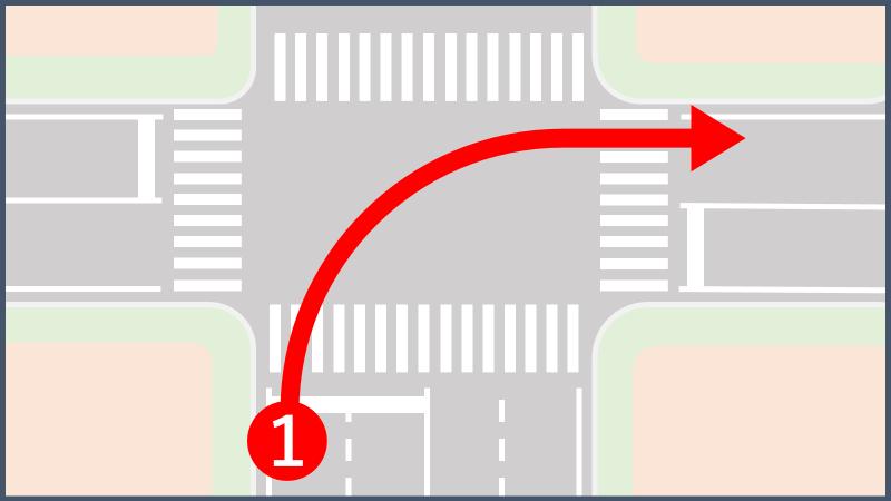 原動機付き自転車車の右折方法(小回り)の標識がある場合の右折方法