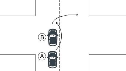 右折車と後続直進車
