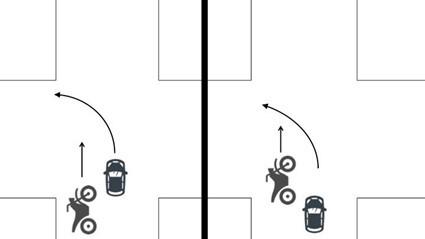 直進車と左折車