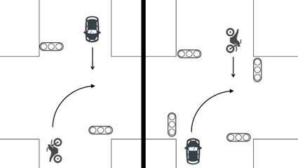 同一道路を対向方向から進入1
