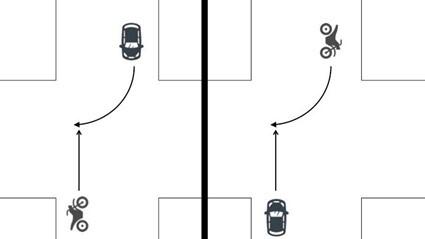 同一道路を対向方向から進入2