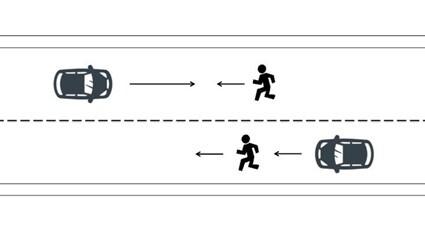 対向ないし同方向進行歩行者の場合
