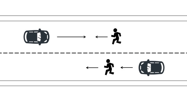 対向ないし同方向進行歩行者