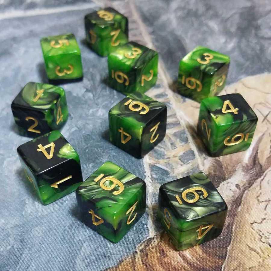 数字表示 ミックスカラー 黒緑 ゴルガリ サイコロ