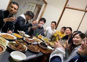 寮で食事会開催