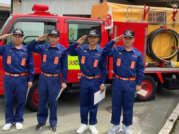 技能実習生4人が地元の消防団に入団