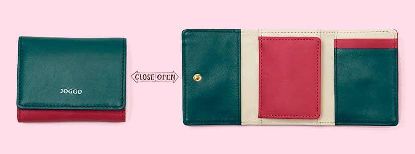 新色レザー ローズピンク 2019 JOGGO シンプルカラー レディース三つ折り財布