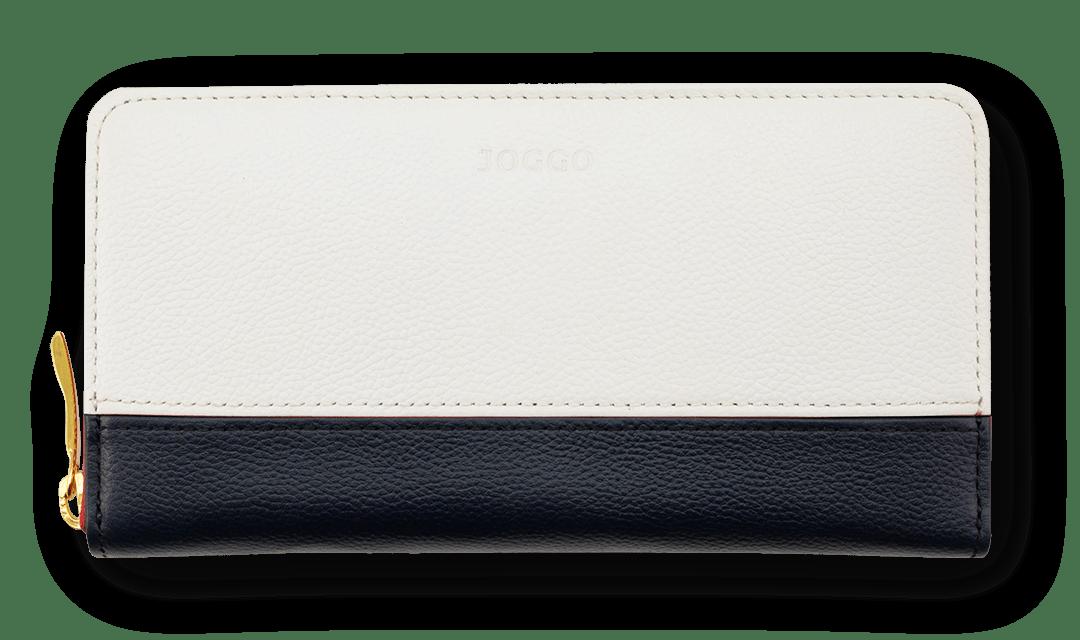 2019 NEW LIMITED LEATHER エンボスとスムースの質感MIXで遊ぶ。期間限定エンボスレザー『ブラックネイビー&ピュアホワイト』 レディースバイカラー財布