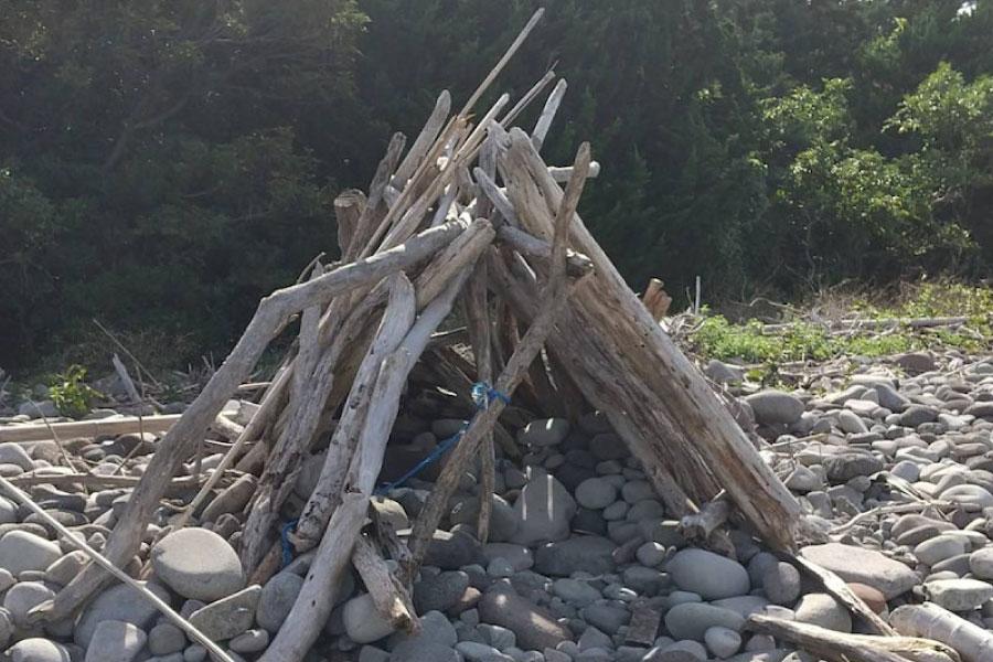 流木で建てた小屋