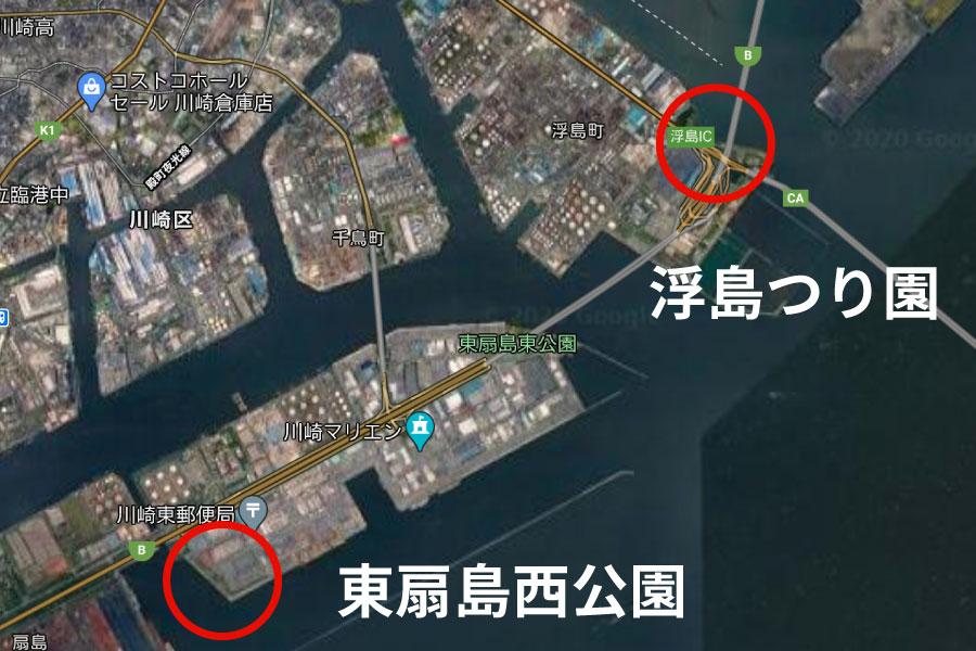 川崎市内港湾での釣り可能エリア