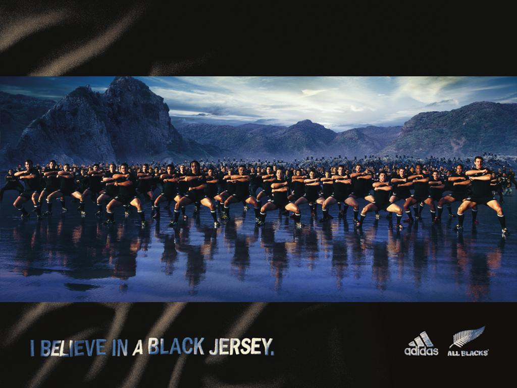 ラグビーNZ代表「オールブラックス」の広告。