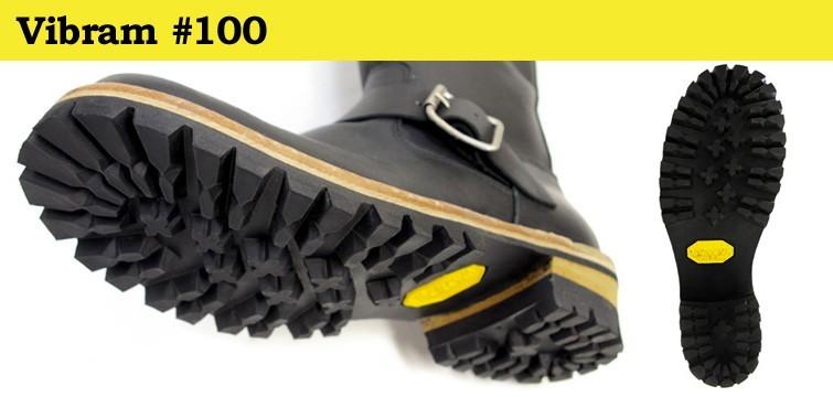 ビブラムを象徴するソール、Vibram社の#100は岩場などでのグリップ力に優れています