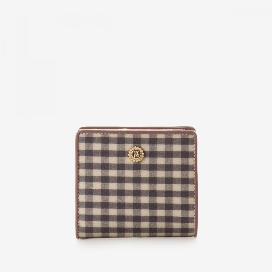 ギンガムチェックL字型ファスナー折財布