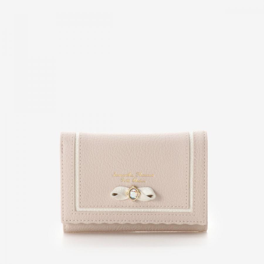 ビジューリボンモチーフ折財布