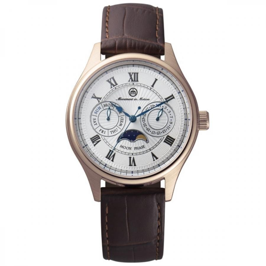 Movement in Motion】 ROUND MOON PHASE MIM-MF02/PG-BR TiCTACオリジナル メンズ