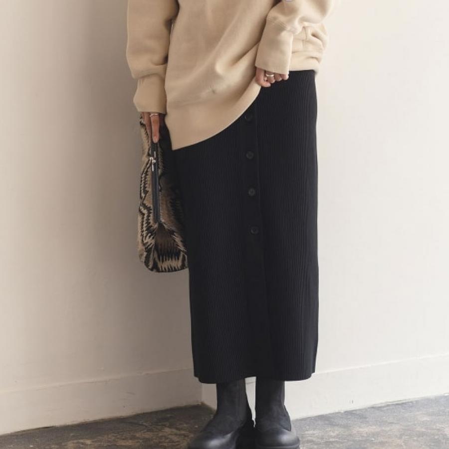 【セットアップ対応】タック編みニットタイトスカート