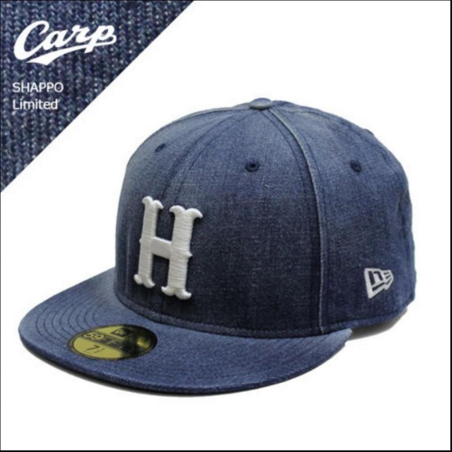 NEW ERA(ニューエラ)ベースボールキャップ 59FIFTY 広島CARP(カープ) SHAPPO(シャッポ)別注モデル DENIM(デニム) WASHED ウォッシュド 11493589