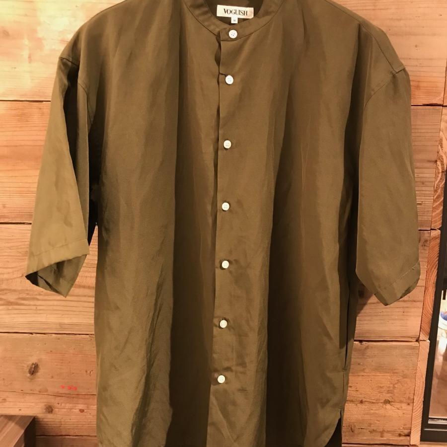 ビッグシルエット バンドカラー半袖シャツ